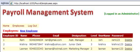 Payroll Management System project screenshot